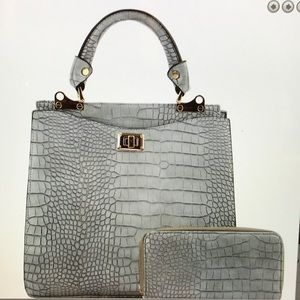Crocodile Print  Satchel Wallet Set Grey